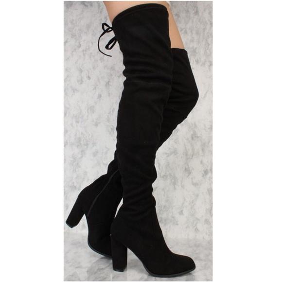 cff82c2ae6e Black Heels Boots Thigh High Tie Back NWT